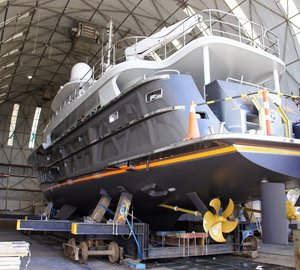 Photos of newly refitted 31m motor yacht BLACK PEARL at Oceania Marine