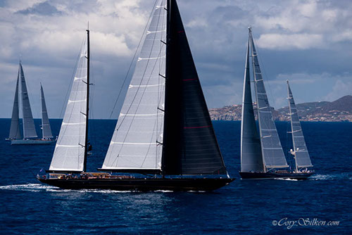 Superyachts Marie and Rebecca sailing in the St. Barth's Bucket Regatta 2015 - Image by Cory Silken