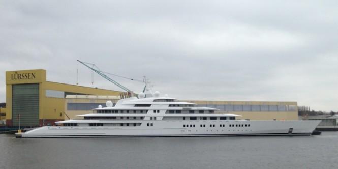 The world's largest 180m mega yacht Azzam at Lurssen - Photo by Klaus Jordan