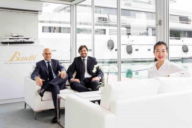 Fabio Ermetto, Luigi Adamo and Natalie Ye at the 2015 Singapore Yacht Show