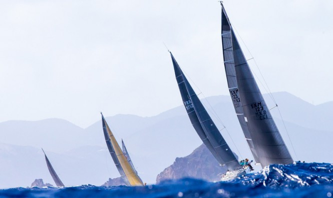 Luxury sailing yachts competing in Les Voiles de St Barth © Jouany Christophe