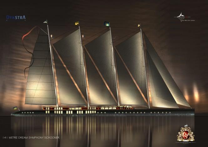Superyacht Dream Symphony by night - Image courtesy of Dykstra & Partners
