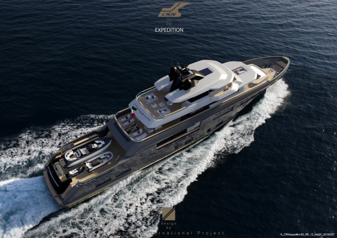 Explorer yacht Teseo concept from above