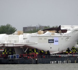 Hull of New 88m Mega Yacht Y715 by Oceanco spotted at subcontractor Zwijnenburg