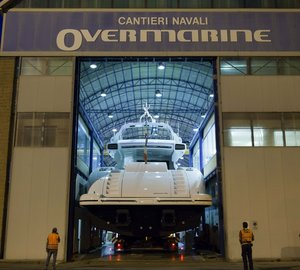 Beautiful Racy and Sporty Mangusta 132 Motor Yacht Hull #1 Launched