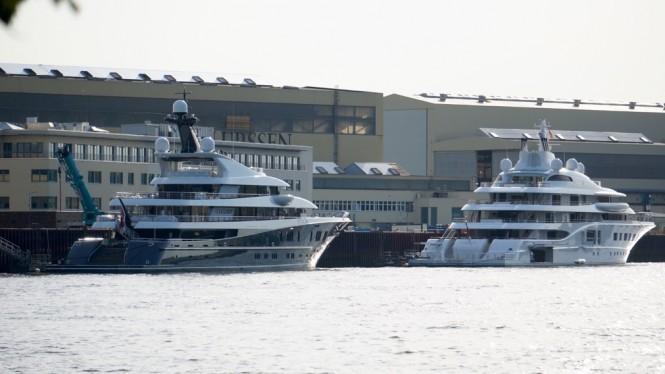 Superyachts Phoenix 2 and Quantum Blue at Lurssen - Photo by DrDuu