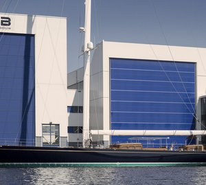 New J Class Sailing Yacht TOPAZ (J8) splashes at Holland Jachtbouw