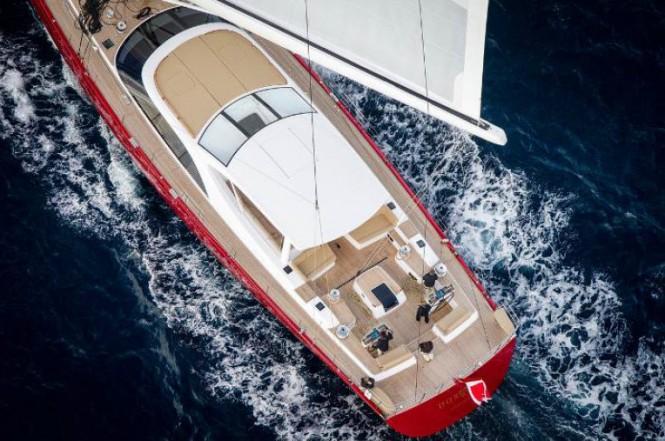 Luxury yacht DORYAN from above