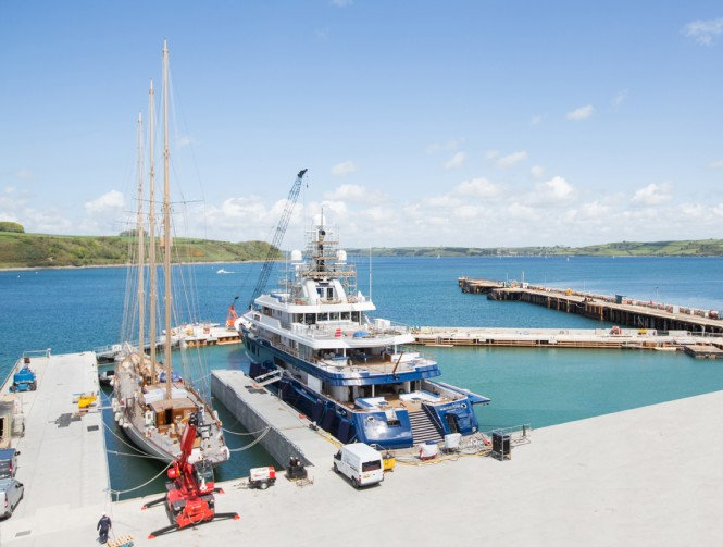 Luxury yachts Adix and Northern Star in wet basin