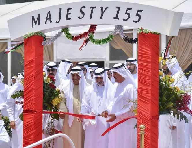 Majesty 155 ribbon cutting with HH Sheikh Rashid bin Saud bin Rashid Al Mualla and Sheikh Nahyan bin Mubarak Al Nahyan