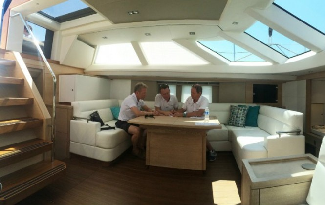 Members of the Afterguard toughing out the race conditions on board Oyster 825 Yacht Maegan