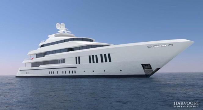 Rendering of the 61m motor yacht Golden Age (YN248) by Hakvoort