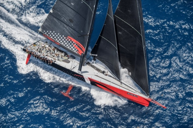 100ft sailing superyacht COMANCHE by Hodgdon Yachts at full speed