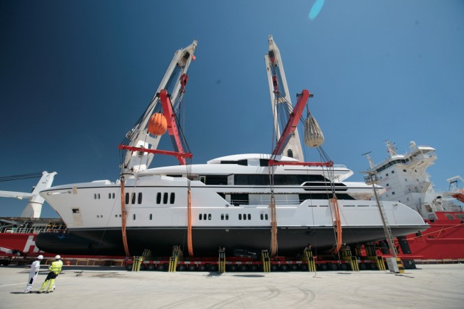 63m Sunrise Superyacht IRIMARI (hull 632) at launch