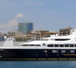 Beautiful 65m FEADSHIP Motor Yacht TANUSHA (ex PESTIFER) spotted in Barcelona
