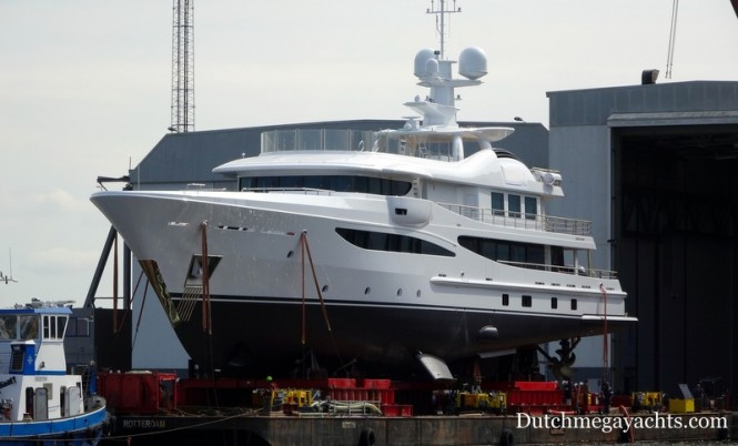 Amels luxury yacht VEGA (hull 468) at launch - Photo by Dutchmegayachts