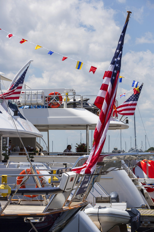Luxury charter yachts on display at the event - Photo by Billy Black