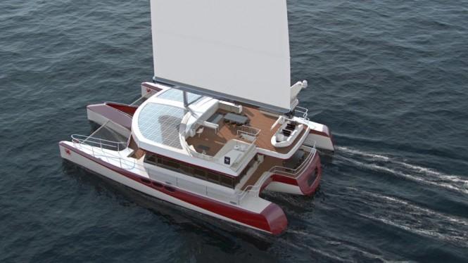 Luxury sailing trimaran DRAGONSHIP 25 from above