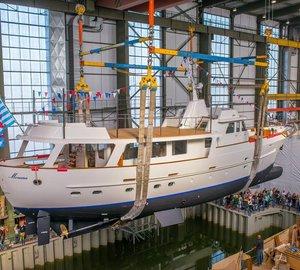 Christening of newly restored 1969 FEADSHIP Motor Yacht MONARA (ex Olympia)