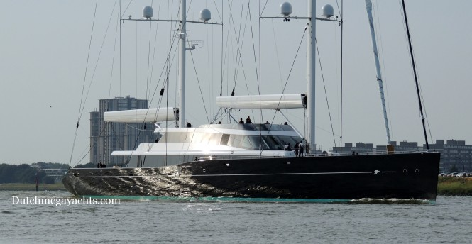 Sailing superyacht Aquijo on the New Waterway near Rotterdam - Image by Dutchmegayachts