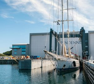 Majestic 55m Sailing Superyacht ADELA at Pendennis for fourth time