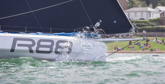 88ft sailing yacht Rambler 88 at full speed - Photo by Rolex Daniel Forster