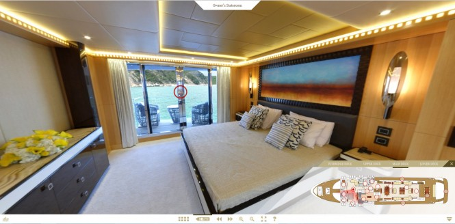 Luxury yacht Majesty 155 virtual tour - Owners Stateroom