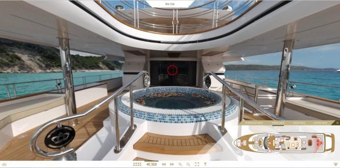 Screen shot of superyacht Majesty 155 virtual tour - Jacuzzi