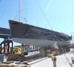 New paint refinishing for Majestic Wally 110' Charter Yacht WALLY B by Compositeworks