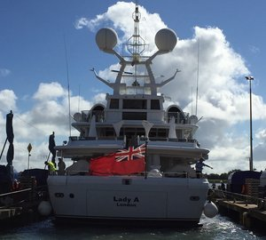 Winter refit for 55m Motor Yacht LADY A at Burgess Marine