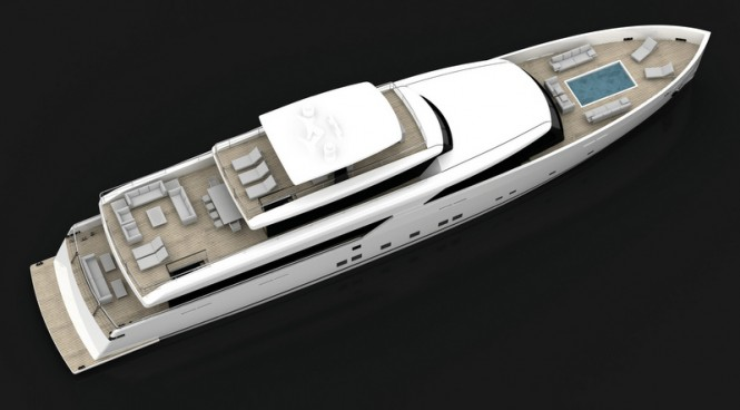 Motor yacht LOGICA 154 from above