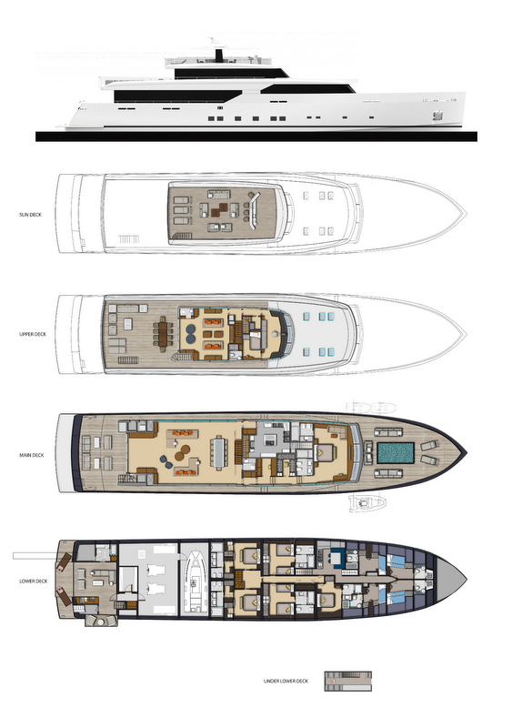 Super yacht LOGICA 154 - General Arrangements