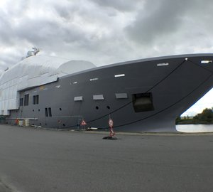 Mighty 107M Explorer Mega Yacht ULYSSES spotted in Bremerhaven, Germany