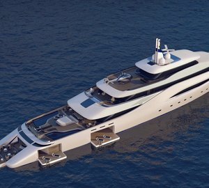 Luxury Mega Yacht OTTANTACINQUE concept introduced by Fincantieri and Pininfarina at MYS