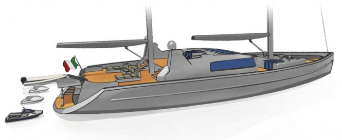 A sketch of the swimming platform and garage aboard Project Blue Yacht Concept
