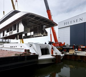 Hull and superstructure of New Heesen YN 17755 Motor Yacht ALIDA joined together