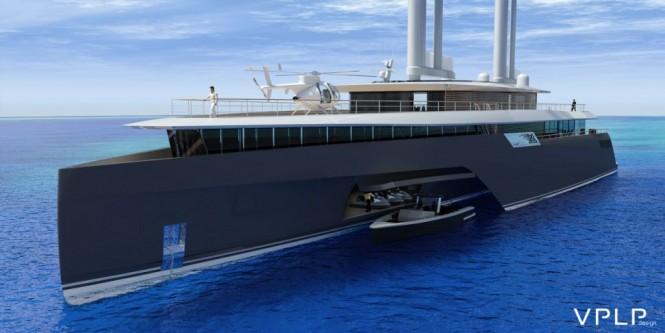 New 282' trimaran mega yacht KOMOREBI concept by VPLP
