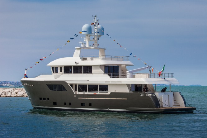 New CdM Darwin Class explorer yacht ACALA at launch - Image by Maurizio Paradisi
