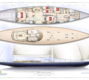 Spirit Yachts at MYS with 118' Sailing Yacht Design and Spirit Royal 110' Motor Yacht Drawings on Display