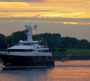 Outstanding 60m Motor Yacht KAISER by Abeking & Rasmussen at her home yard for maintenance