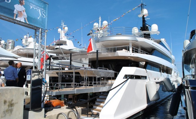 69m superyacht SUERTE by Tankoa Yachts at MYS 2015 - Photo by Peter Franklin