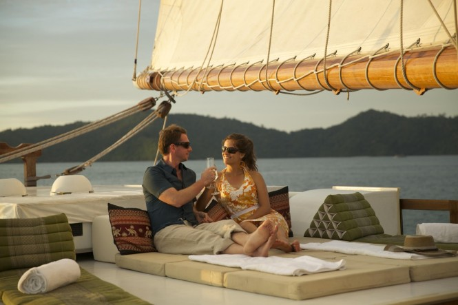 Aboard the beautiful RAJA LAUT yacht