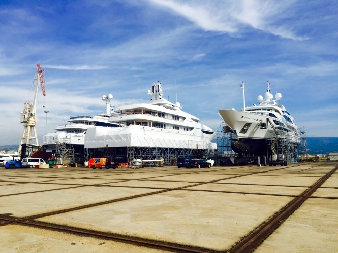 Luxury Superyachts being coated by Zytexx - Image credit to Zytexx