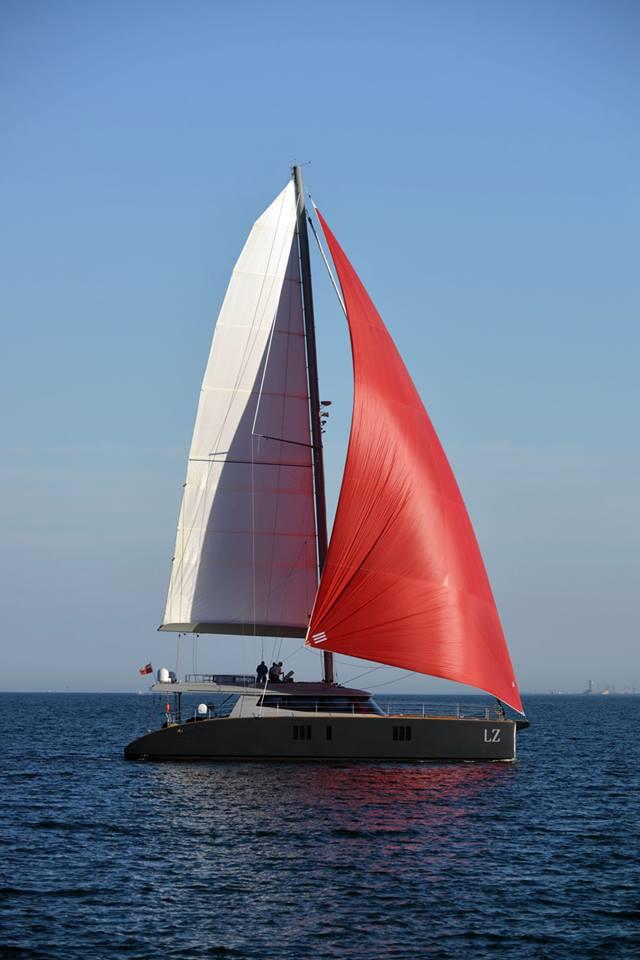 Luxury catamaran LUCY Z under sail