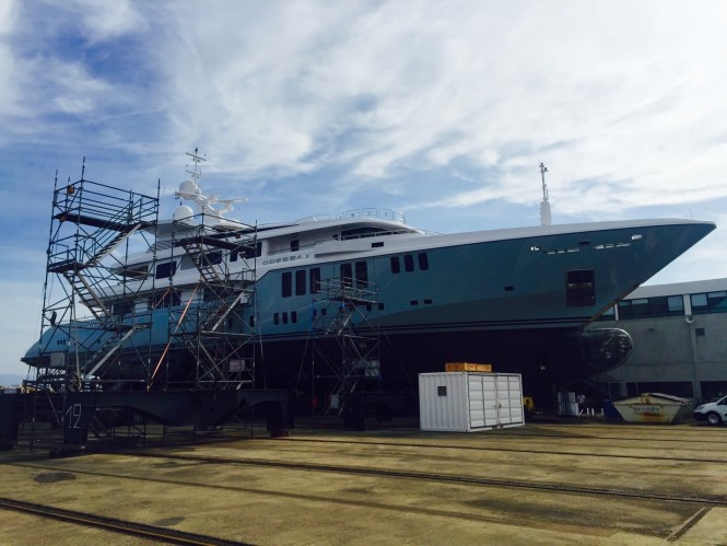 Luxury motor yacht ODESSA II being coated by Zytexx - Image credit to Zytexx