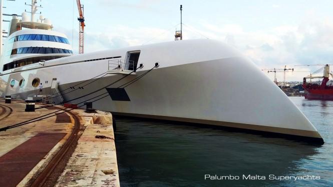 119m mega yacht A at Palumbo Malta