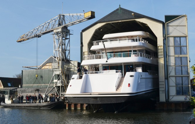 Luxury yacht JUST Js leaving her shed