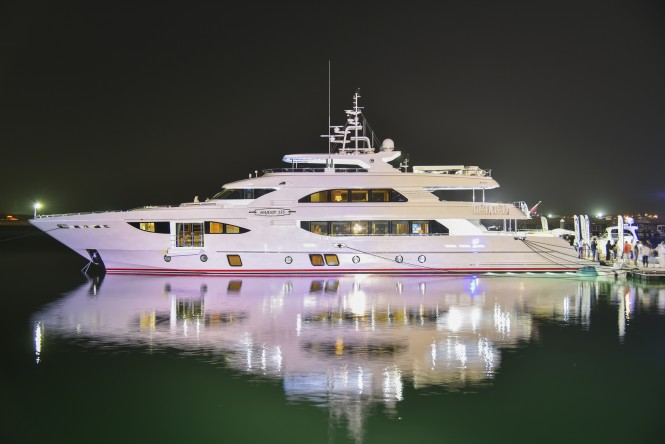 Majesty 135 Yacht by Gulf Craft, the largest superyacht on display at the Qatar International Boat Show 2015
