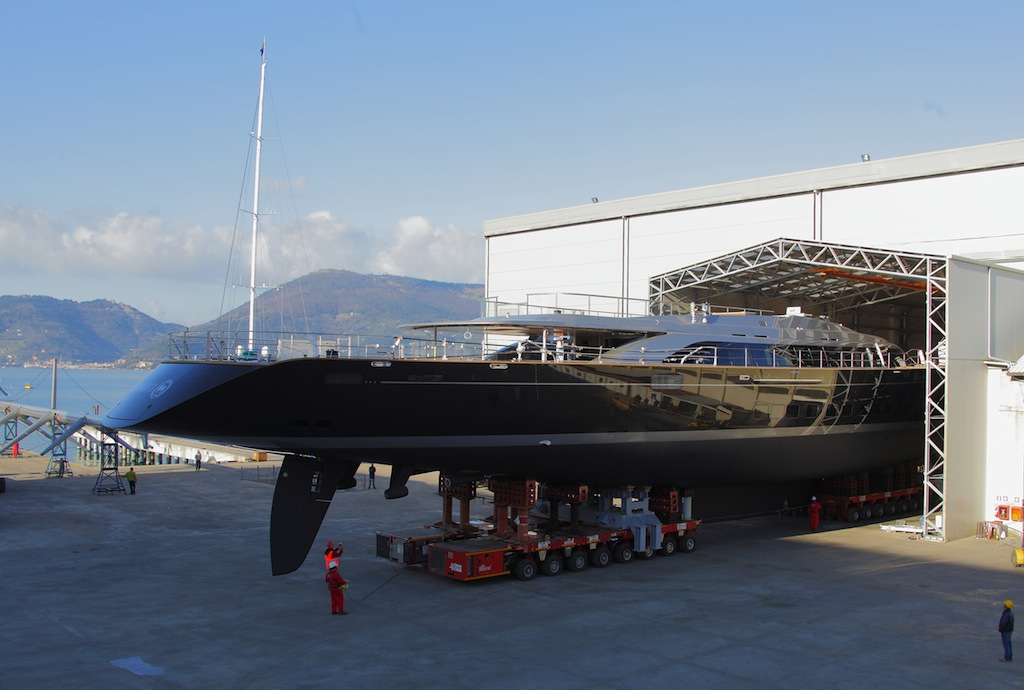 70m SYBARIS being rolled out of shed at Perini Navi