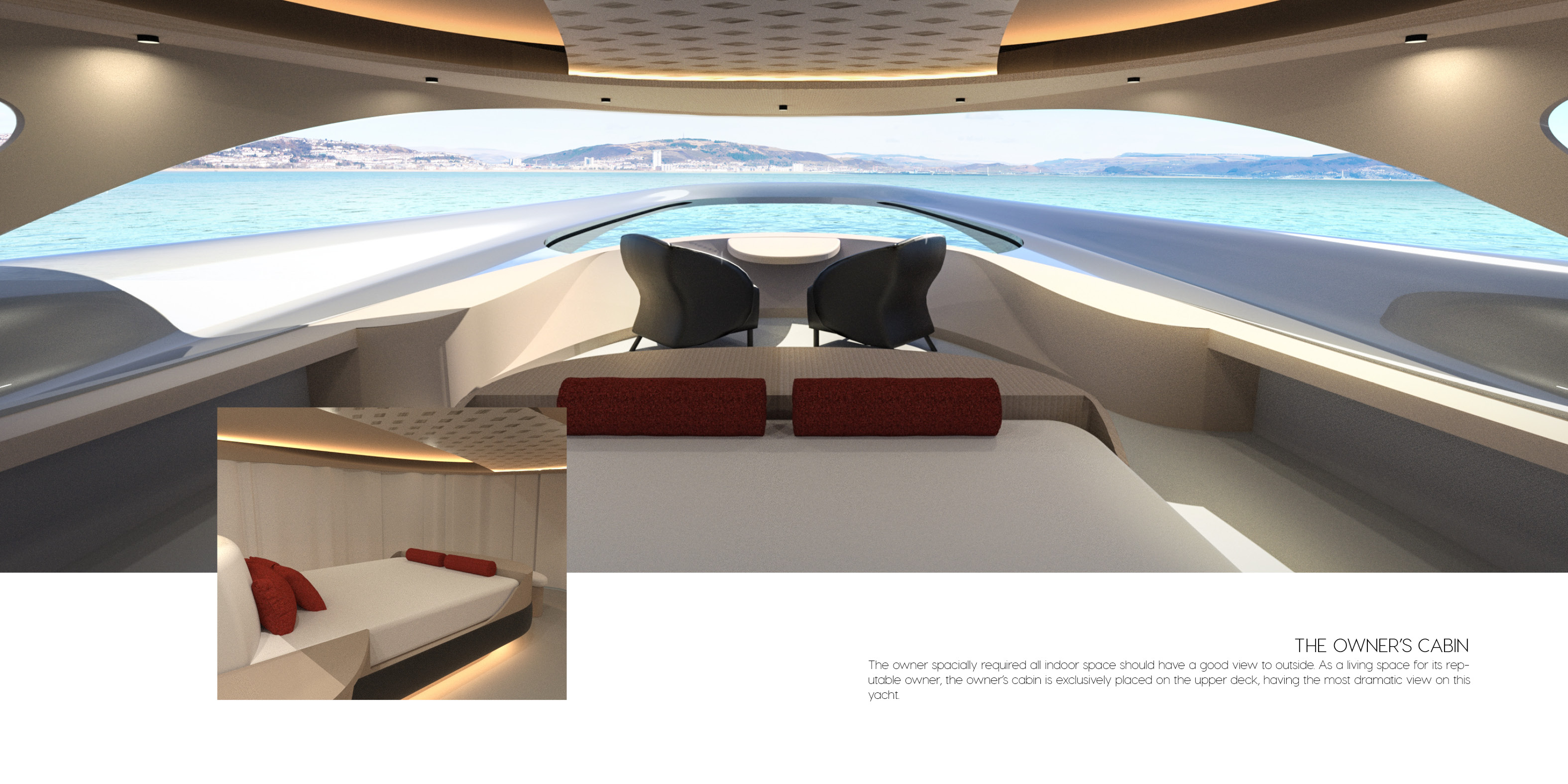 Owner Cabin - Saloon and Dining - Interior Accommodation - Luxury Superyacht concept CERCIO designed by Baoqi Xiao